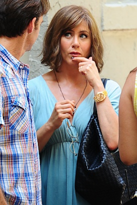 Jennifer Aniston Sports Brown Bob Wig on Set