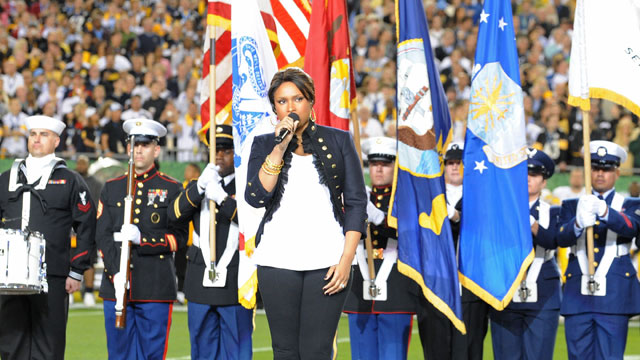 PHOTO:Singer Jennifer Hudson performs the national anthem during the pre-game show prior to the start of Super Bowl XLIII between the Arizona Cardinals and the Pittsburgh Steelers on February 1, 2009 at Raymond James Stadium in Tampa, Florida.