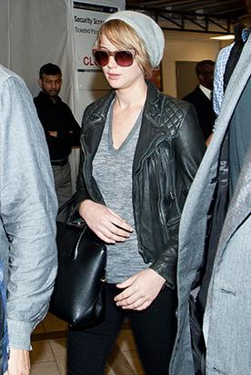 Barefaced Jennifer Lawrence Touches Down in NYC