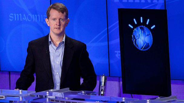 PHOTO: Jeopardy contestant Ken Jennings competes against Watson