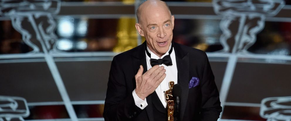"PHOTO: J.K. Simmons accepts the Actor in a Supporting Role Award for ""Whiplash"" onstage during the 87th Annual Academy Awards at Dolby Theatre on Feb. 22, 2015 in Hollywood, Calif."