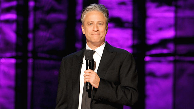PHOTO: Jon Stewart speaks onstage at Comedy Central's night of too many stars: America comes together for autism programs, Oct. 13, 2012 in New York City.