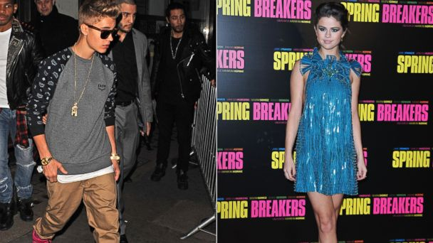PHOTO: Justin Bieber, left, is seen in this Feb. 19, 2013 file photo taken in London, England while Selena Gomez, right, is seen in this Feb. 18, 2013 file photo taken in Paris, France.