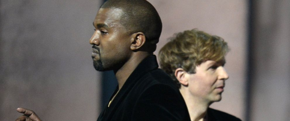 PHOTO: Album of the Year winner Beck reacts as Kanye West appears on stage at the 57th Annual Grammy Awards in Los Angeles Feb. 8, 2015.