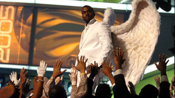"PHOTO: Kanye West performs ""Jesus Walks"" at the Grammy awards on Feb. 13, 2005."