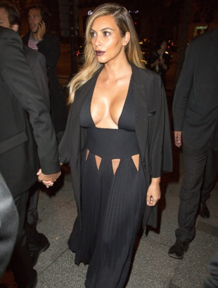 Whoa! Kim Kardashian Wore a Revealing Gown in Paris