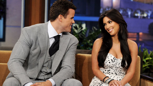 PHOTO: Kris Humphries and Kim Kardashian appear on the Tonight Show With Jay Leno at NBC Studios, October 4, 2011 in Burbank, California.