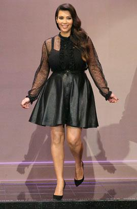 Pregnant Kim K Rocks Short Skirt