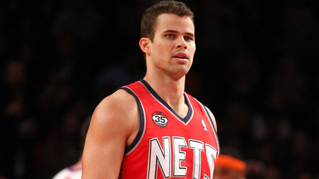 PHOTO: Kris Humphries, #43 of the New Jersey Nets, looks on against the New York Knicks during their pre-season game at Madison Square Garden on December 21, 2011 in New York City.