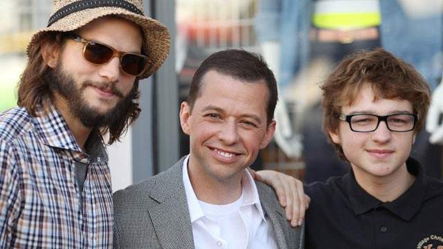 PHOTO: Ashton Kutcher, Jon Cryer and Angus T. Jones attend the ceremony honoring actor Jon Cryer with a Star on The Hollywood Walk of Fame, Sept. 19, 2011 in Hollywood, California.