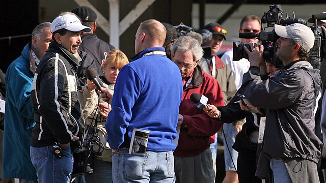 PHOTO: Louie Roussel III talks with the media during the morning training for the Kentucky Derby in this April 30, 2008 file photo at Churchill Downs.