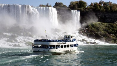 PHOTO: The Maid of the Mist tour boat floats near part of the American portion of Niagara Falls in the Niagara River.