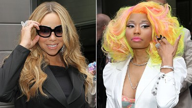 "PHOTO: Mariah Carey and Nicki Minaj attend the ""American Idol"" Judges And Host Photo Call at Jazz at Lincoln Center on Sept. 16, 2012 in New York City."
