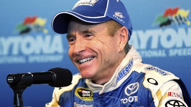 PHOTO: Mark Martin, driver of the #55 AAron;s Dream Machine Toyota addresses the media during Daytona Preseason Thunder at Daytona International Speedway on January 12, 2012 in Daytona Beach, Florida.