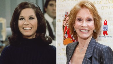 PHOTO: Mary Tyler Moore as Mary Richards smiles broadly as she sits at a desk in a scene from 'The Mary Tyler Moore Show,' Los Angeles, 1970;  Mary Tyler Moore attends Broadway Barks! 14 at the Shubert Alley, July 14, 2012, in New York.