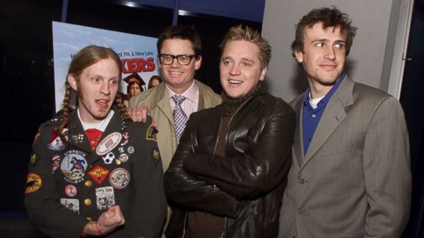 "PHOTO: Michael C. Maronna, director Dewey Nicks, Devon Sawa and Jason Segel at the premiere of ""Slackers at the Galaxy Theater in Los Angeles on Jan. 29, 2002."