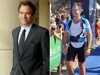 PHOTO: Michael Weatherly attends an event in Beverly Hills, Calif. on April 23, 2013 and finishes a triathlon in Malibu, Calif. on Sept. 14, 2014.
