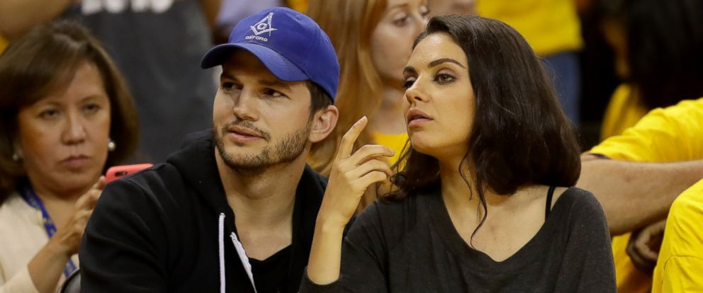 PHOTO: Ashton Kutcher and Mila Kunis attend a game of the 2016 NBA Finals between the Golden State Warriors and the Cleveland Cavaliers at Oracle Arena on June 5, 2016 in Oakland, California.