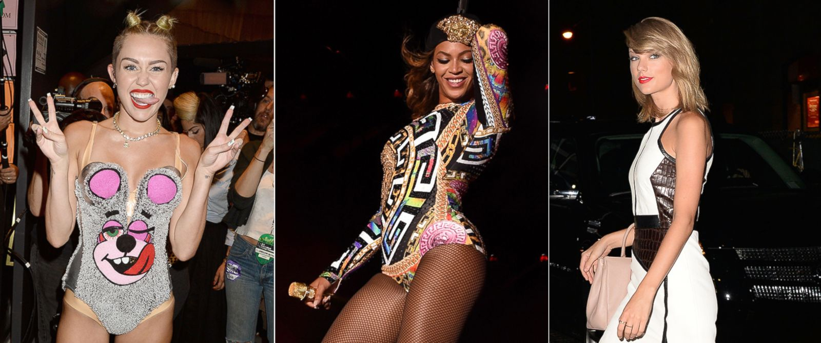 PHOTO: Miley Cyrus, seen at the 2013 VMAs on Aug. 25, 2013, Beyonce Knowles, seen center at the Rose Bowl on Aug. 2, 2014, and Taylor Swift, right, seen on Aug. 13, 2014 in New York.