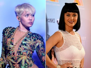 PHOTO: Miley Cyrus is seen left on Feb. 25, 2014 performing on San Jose Calif. and Katy Perry is seen right on March 4, 2014 at the start of her world tour in Sydney, Australia.