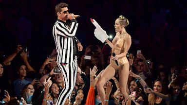 PHOTO: Robin Thicke and Miley Cyrus perform during the 2013 MTV Video Music Awards at the Barclays Center on August 25, 2013 in the Brooklyn borough of New York City.