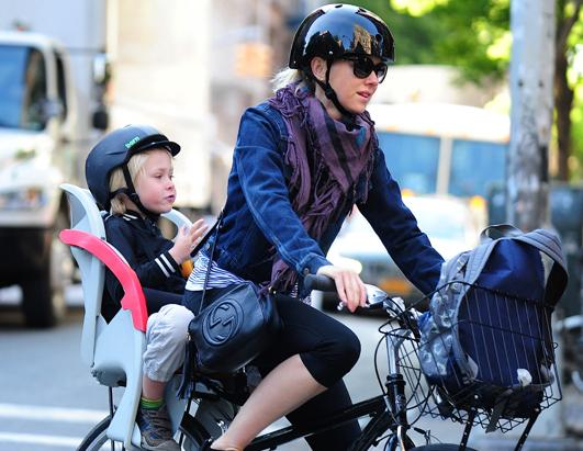 Naomi Watts Rides a Bicycle with Her Son