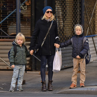 Naomi Watts Keeps Her Kids Bundled Up
