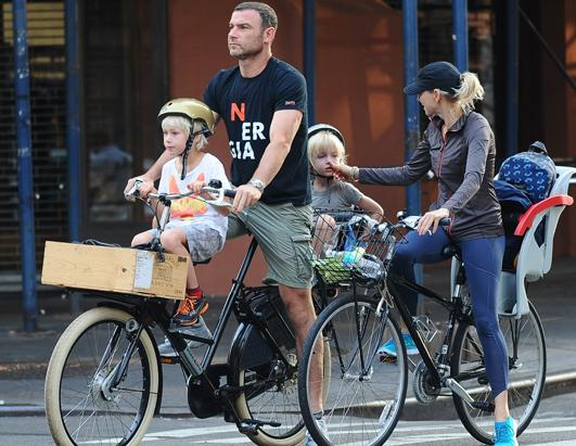 Naomi Watts and Liev Schreiber Go Biking With Sons