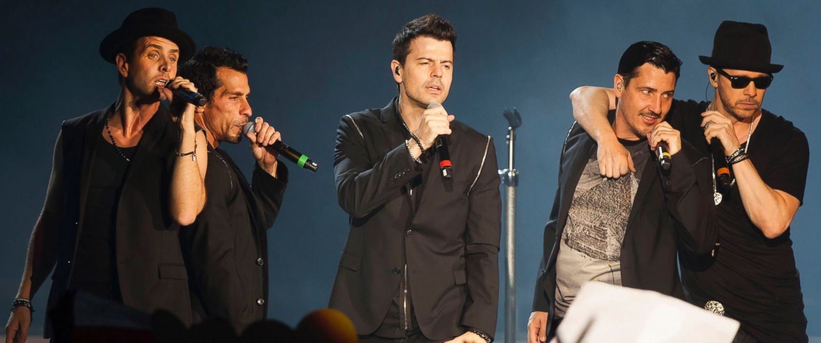 PHOTO: Joey McIntyre, Danny Wood, Donnie Wahlberg, Jonathan Knight and Jordan Knight of the New Kids On The Block perform in Berlin, Germany on May 21, 2014.