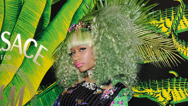 PHOTO: Nicki Minaj attends the Versace for H&M Fashion event at the H&M on the Hudson on November 8, 2011 in New York City.