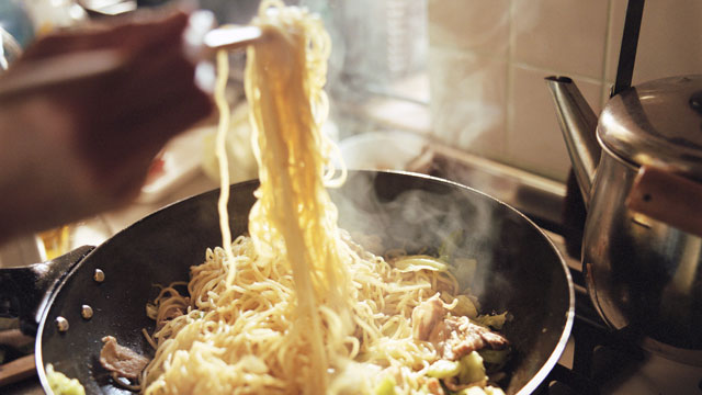 PHOTO:  In Asian cultures, long noodles are believed to bring long life for the new year.