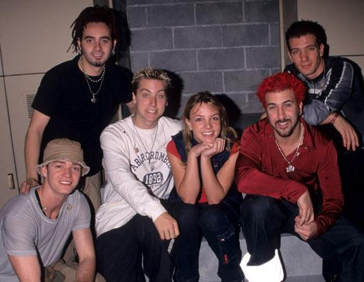 Britney Spears and NSYNC are seen in this undated photo at a rehearsal for the 1999 MTV Video Music Awards.