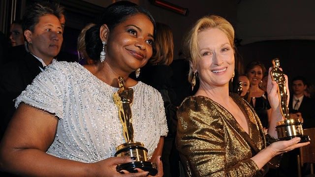 "PHOTO: Octavia Spencer left, winner for Best Actress in a Supporting Role for ""The Help,"" and  Meryl Streep, winner of Best Performance by an Actress in a Leading Role for ""The Iron Lady""."