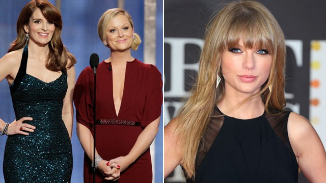 PHOTO: Tina Fey and Amy Poehler host the 70th Annual Golden Globe Awards, Jan. 13, 2013, in Beverly Hills, Calif. Right, Taylor Swift attends the Brit Awards, Feb. 20, 2013, in London, England.