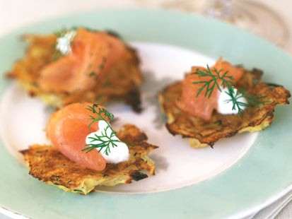 Sara Moulton shares her recipe for potato pancakes with salmon.