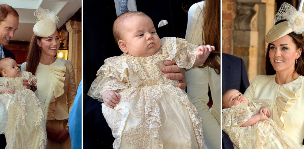 PHOTO: Prince William and his wife Catherine, Duchess of Cambridge, arrive with their son Prince George at Chapel Royal in St Jamess Palace in central London, Oct. 23, 2013, ahead of the christening of the three month-old prince.