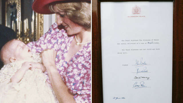 PHOTO: The birth announcement of Prince William on the gates of Buckingham Palace, accompanied by four signatures, June 21, 1982.