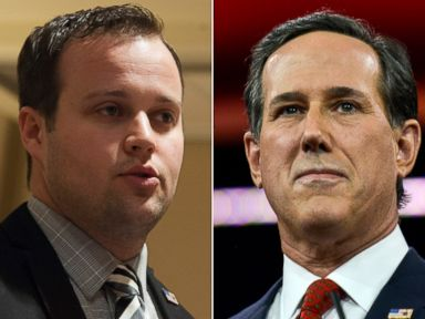 PHOTO: Josh Duggar, seen left in this Feb. 28, 2015 file photo, and Rick Santorum, seen right in this Feb. 27, 2015 file photo.