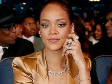 Rihanna Stuns in Gold at the BET Awards