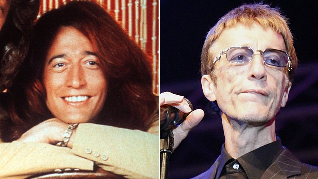 PHOTO: Portrait of Robin Gibb, left, and Gibb performing live during a concert at the Stadtwerkefestival, July 3, 2011 in Potsdam, Germany.