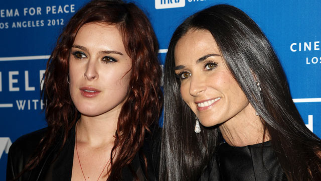 PHOTO: Rumer Willis and Demi Moore attend the Cinema for Peace fundraiser for Haiti at Montage Beverly Hills, January 14, 2012 in Beverly Hills, California.