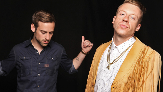 PHOTO: Ryan Lewis, left, and Macklemore pose for a portrait backstage at The Fader Fort presented by Converse during SXSW, March 16, 2013, in Austin, Texas.