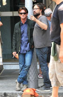 Sean Penn on set filming 'The Gunman'