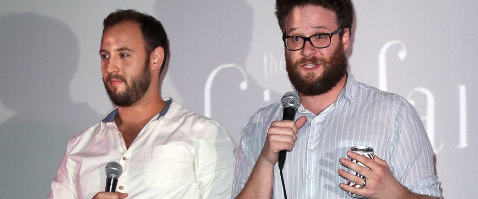"PHOTO: Writers/directors Evan Goldberg, left, and Seth Rogen introduce the screening of Sony Pictures ""The Interview"" at Cinefamily, Dec. 25, 2014 in Los Angeles, California."