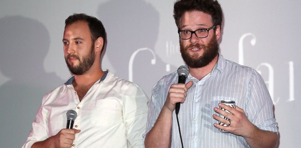 PHOTO: Writers/directors Evan Goldberg, left, and Seth Rogen introduce the screening of Sony Pictures The Interview at Cinefamily, Dec. 25, 2014 in Los Angeles, California.