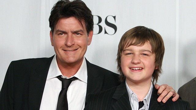 PHOTO: Charlie Sheen, left, and Angus T. Jones pose in the press room at the 35th Annual People's Choice Awards held at the Shrine Auditorium, Jan. 7, 2009 in Los Angeles, CA.