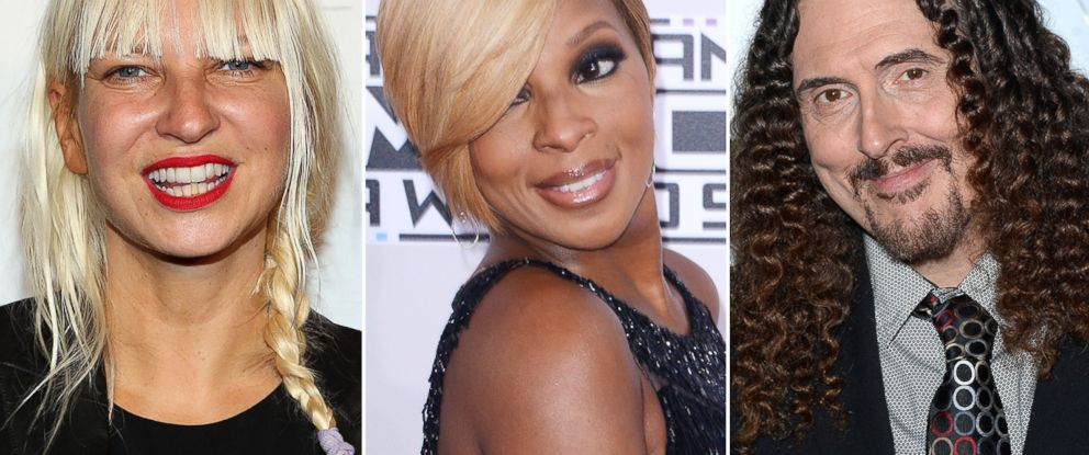 """PHOTO: Sia is pictured in New York City on June 4, 2014, Mary J. Blige is seen in Los Angeles, Calif. on Nov. 23, 2014 and """"Weird Al"""" Yankovic attends a party in Los Angeles, Calif. on Dec. 4, 2014."""