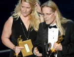 "PHOTO: Sound editors Karen Baker Landers and Per Hallberg accept the Best Sound Editing award for Skyfall"" and  onstage during the Oscars held at the Dolby Theatre on February 24, 2013 in Hollywood."