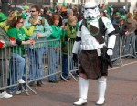 PHOTO: A kilt-wearing Star Wars Stormtrooper walks in the 2013 Detroit St. Patricks Day Parade at Michigan Avenue, March 10, 2013 in Detroit.