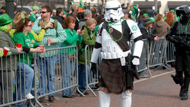 PHOTO: A kilt-wearing Star Wars Stormtrooper walks in the 2013 Detroit St. Patrick's Day Parade at Michigan Avenue, March 10, 2013 in Detroit.